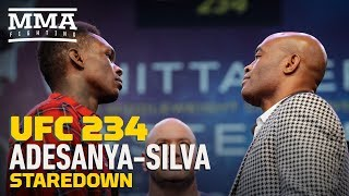 UFC 234: Israel Adesanya vs. Anderson Silva Press Conference Staredown - MMA Fighting
