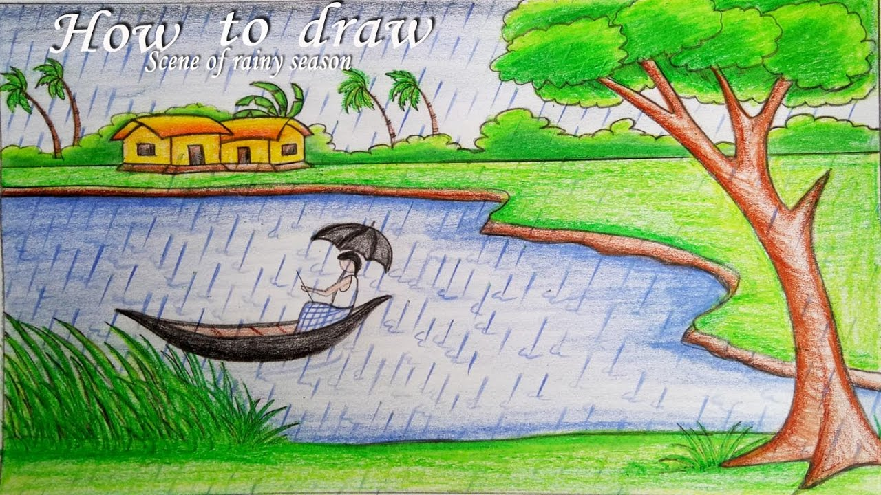 How to draw a scenery of rainy season step by step (very ... Rainy Day Drawing Competition