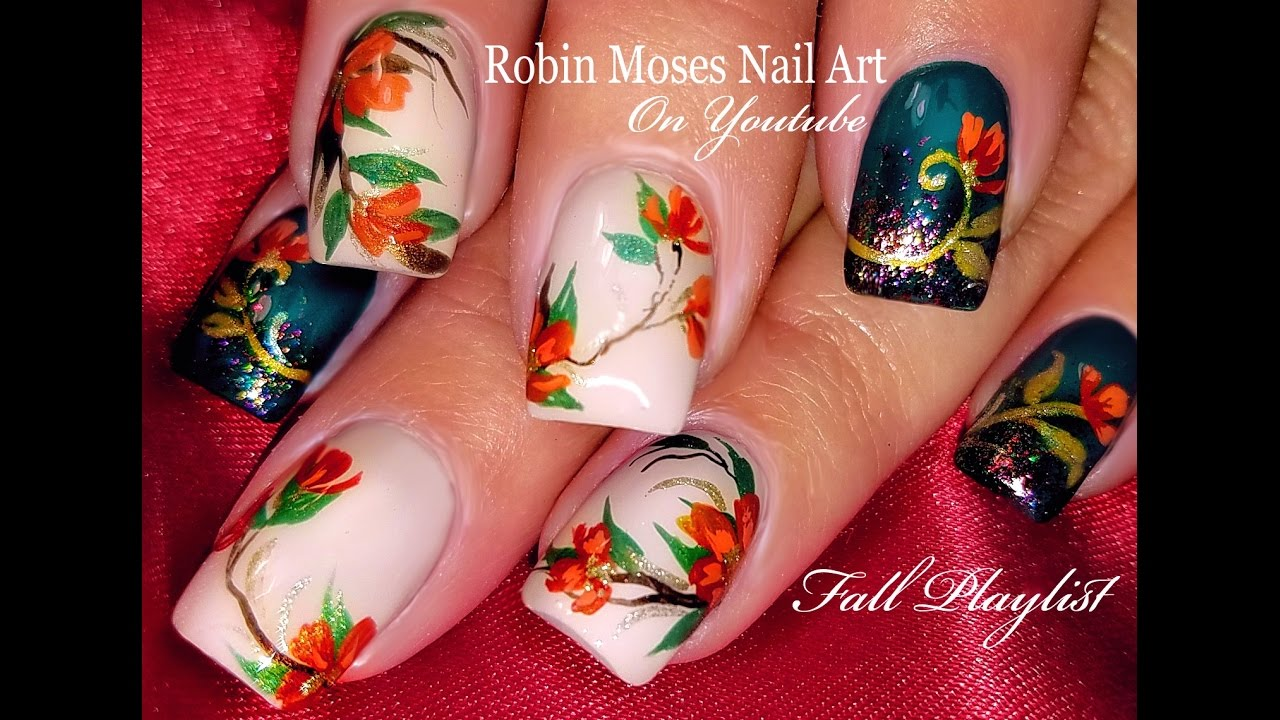Thanksgiving Nails! | DIY Fall Flower Nail Art Design Tutorial - YouTube
