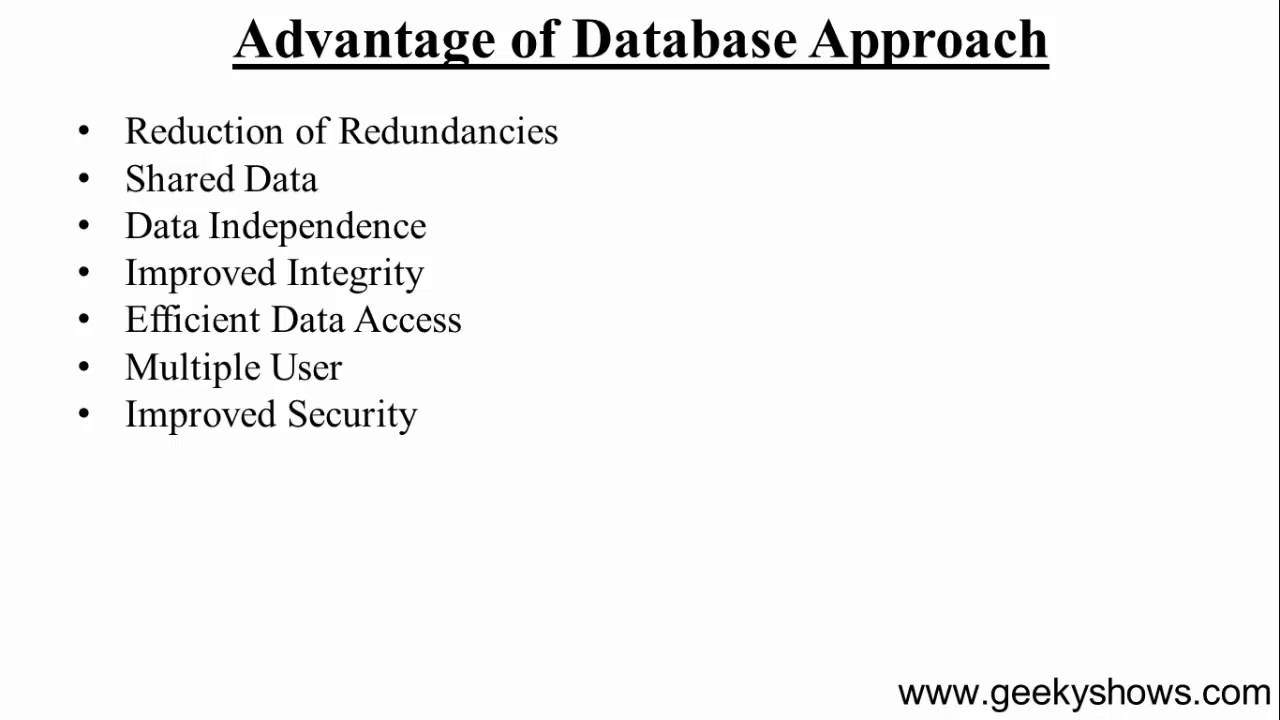 8 advantage of database approach hindi youtube