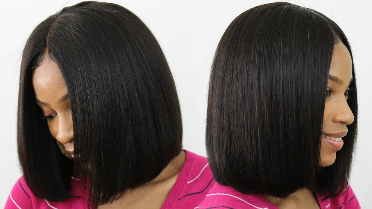 How To Make Cut Style A Blunt Cut Bob Wig Middle Part Bob Youtube