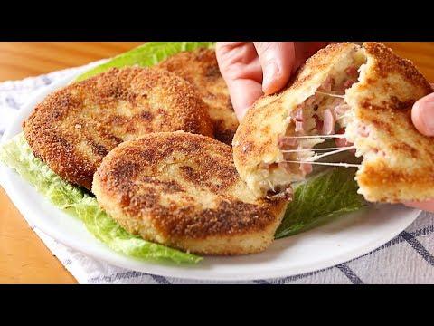 Tortitas de patata con jamón y queso - Recetas de cocina casera y fácil