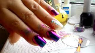 Дизайн ногтей втирка на обычном лаке