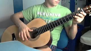 Видеоурок игры на гитаре.Песня Ночь какая месячная очень простая