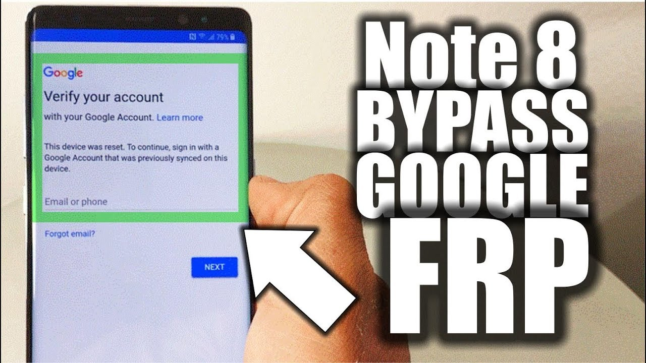 NO PC - Unlock Google Account FRP Bypass - Samsung Galaxy Note 8