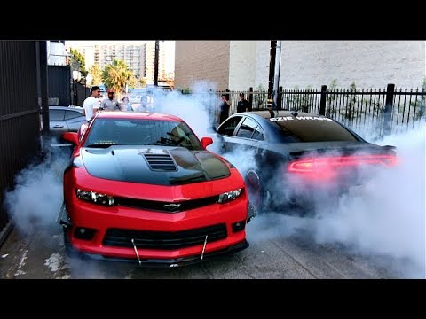 HE ALMOST CRASHED! V8s Take Over The Streets Of LA