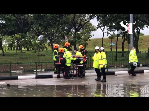 Scenes from this morning's flash flood at Tampines Ave 10 and Pasir Ris Drive 12
