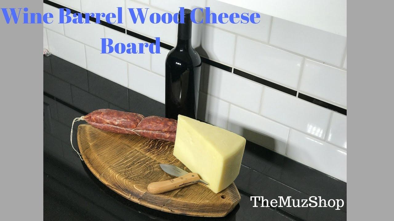 Wine Barrel Wood Cheese Board Holiday Gift