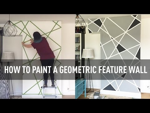 how to paint a geometric feature wall - youtube