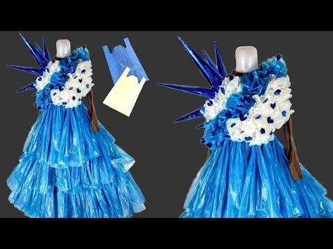 cara membuat kostum karnaval dari plastik kresek ala princes | lomba 17 agustus.