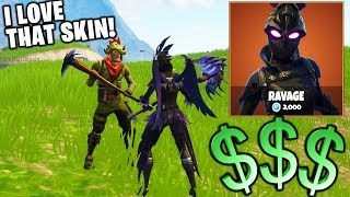 BUYING MY BIGGEST FAN THE EPIC NEW SKIN IN FORTNITE!! (HE SCREAMED!)