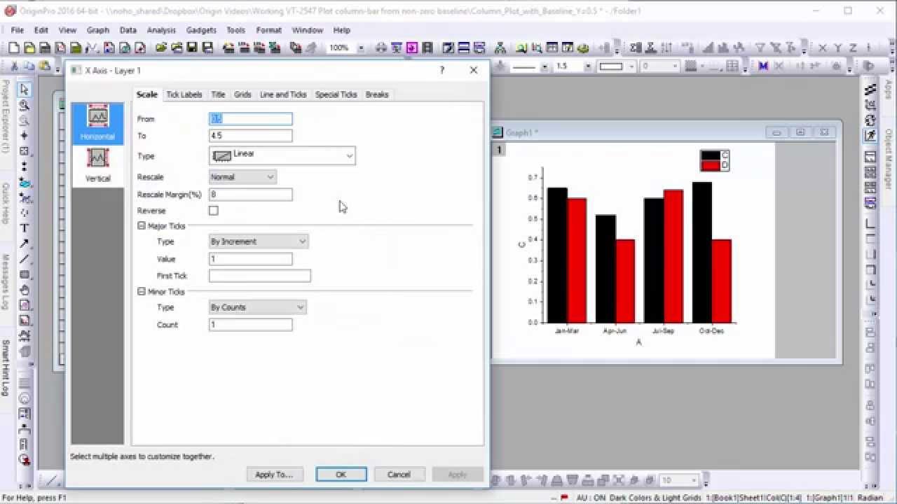 plotting column/bar graphs with non-zero baselines in origin 2016
