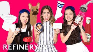 Lucie Fink Plays Would You Rather Challenge With The Merrell Twins | YouTube Challenges | Refinery29