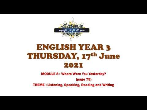 English Year 3 - Where Were You Yesterday?