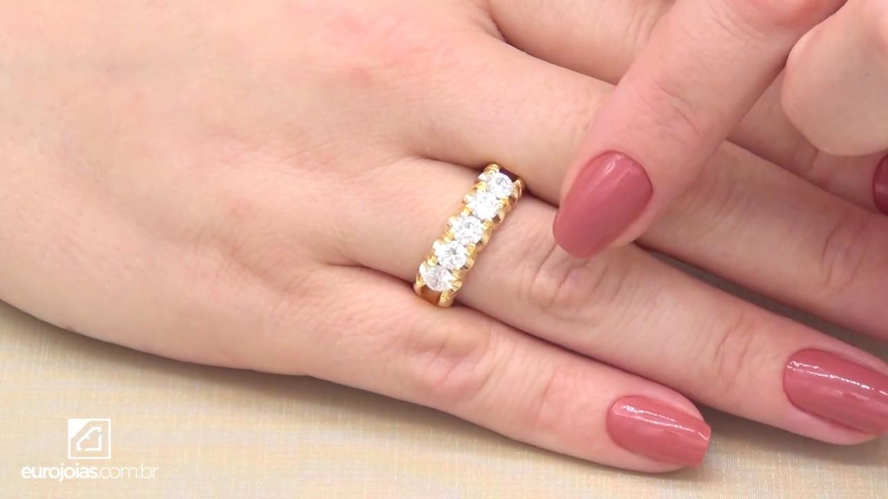 eb6ae1f8e32a9 Meia Aliança com 5 Diamantes de 22 Pontos