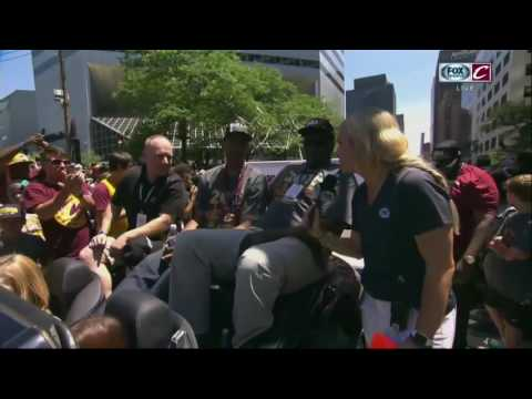 Allie Clifton catches up with Cavs' radio team at championship parade