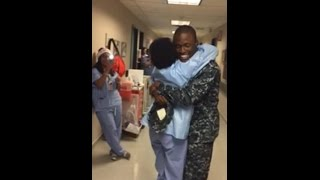 BEST CHRISTMAS EVER: Son comes home from deployment..surprises Mother at work!!