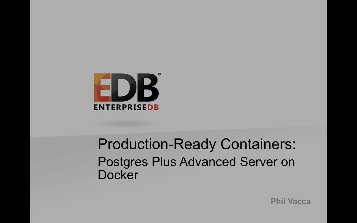Production-Ready Containers: Part 1 EDB Postgres Advanced