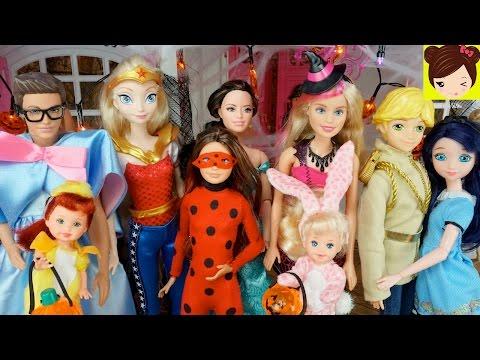 Fiesta de Halloween en Casa de Barbie y Ken con - Las Bebes, Elsa, Ladybug y Raquel