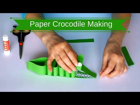 Paper Crocodile Making   Making of Paper Crocodile   Paper Crafts Easy🐊🐊