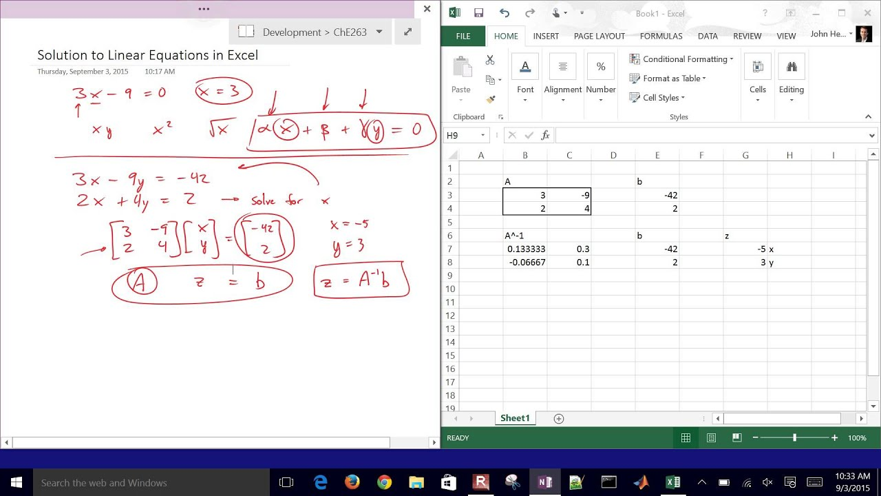 Solve Linear Equations with Excel