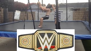 WWE - Royal Rumble - World Heavyweight Championship - Brock Lesnar vs  Batista (Trampoline)