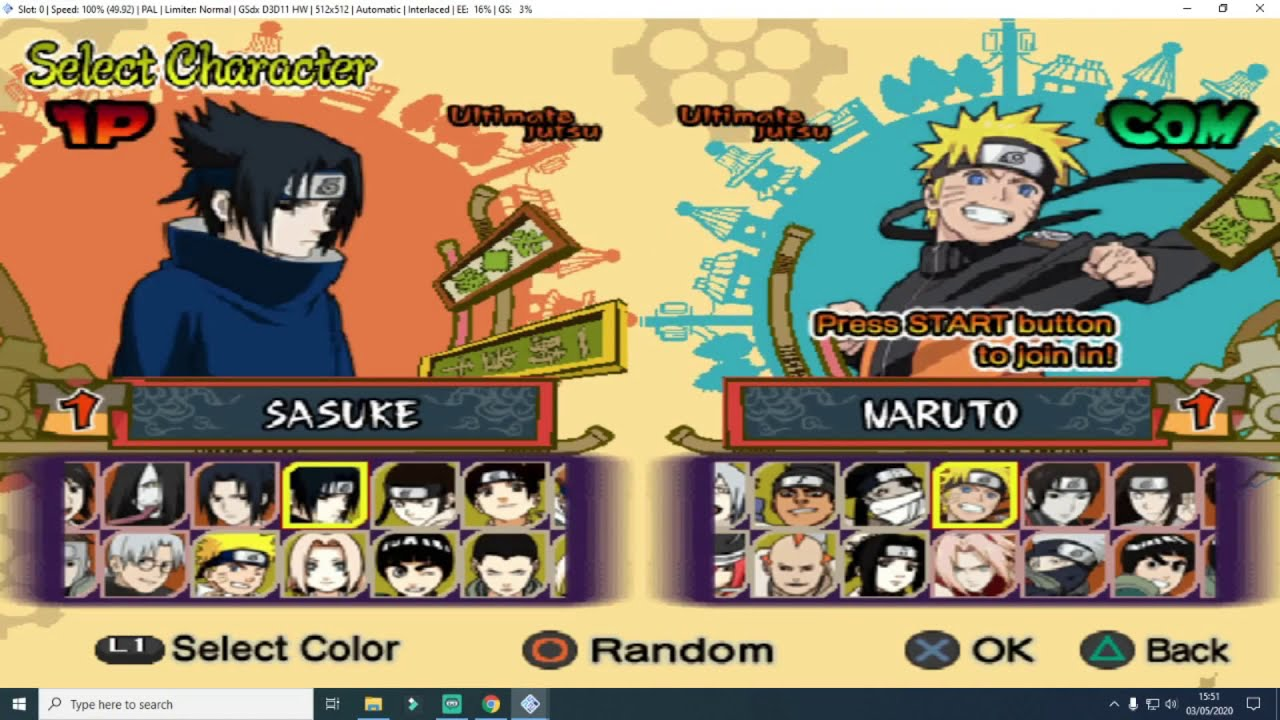 Cara Cheat Naruto Ultimate Ninja 5 Ps 2 Dapat Semua Karakter Youtube