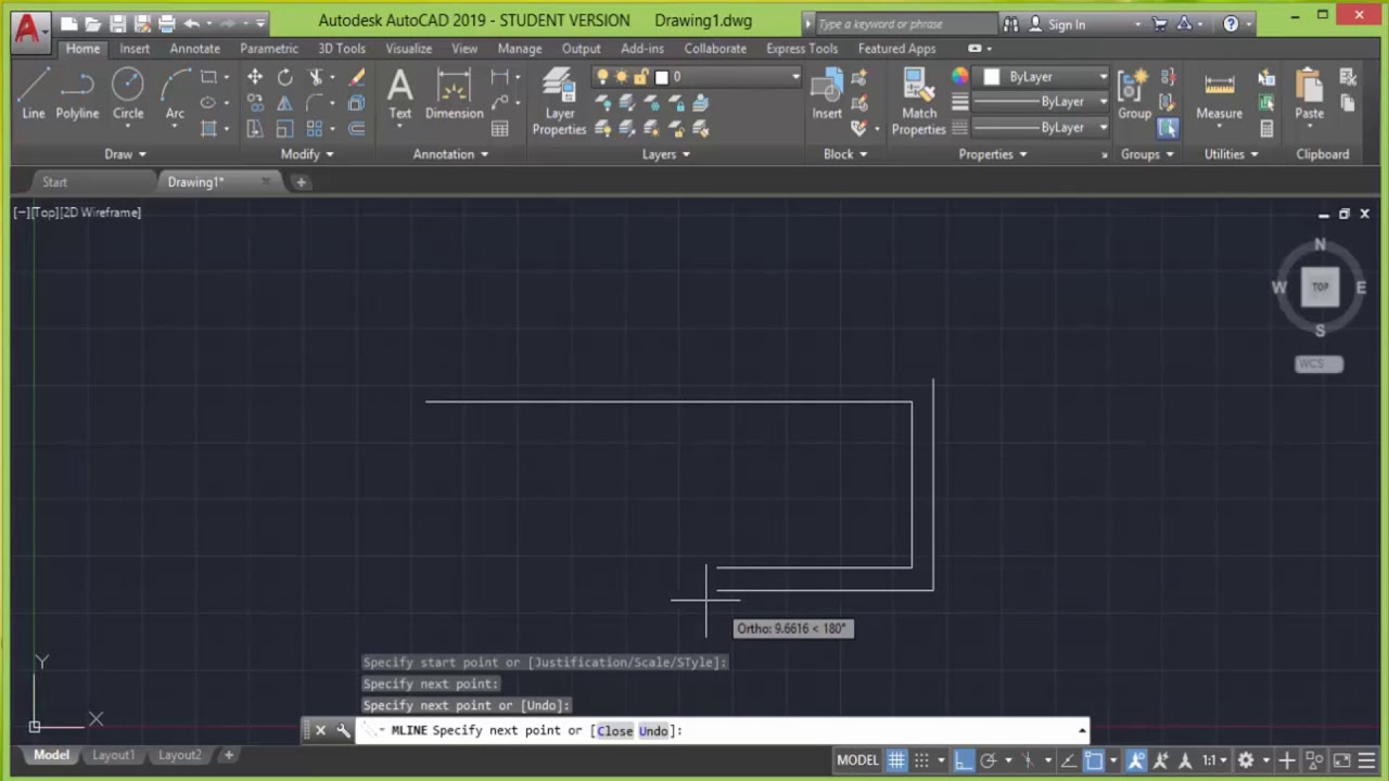 Multiline command In Autocad 2019