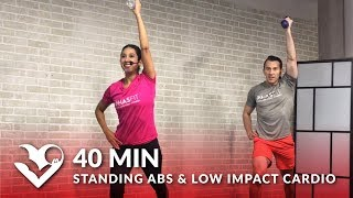 40 Min Standing Abs & Low Impact Cardio Workout with No Jumping – Standing Ab Quiet Low Impact HIIT