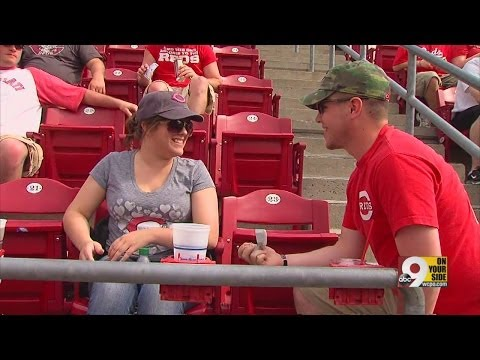 U.S. Marine Proposes To Teary-eyed Girlfriend At Great American Ball Park