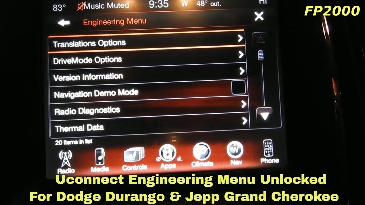 Dodge Durango Cherokee Uconnect Reset Factory Restore Hidden Mode Engineering Dealer Secret Menu Youtube
