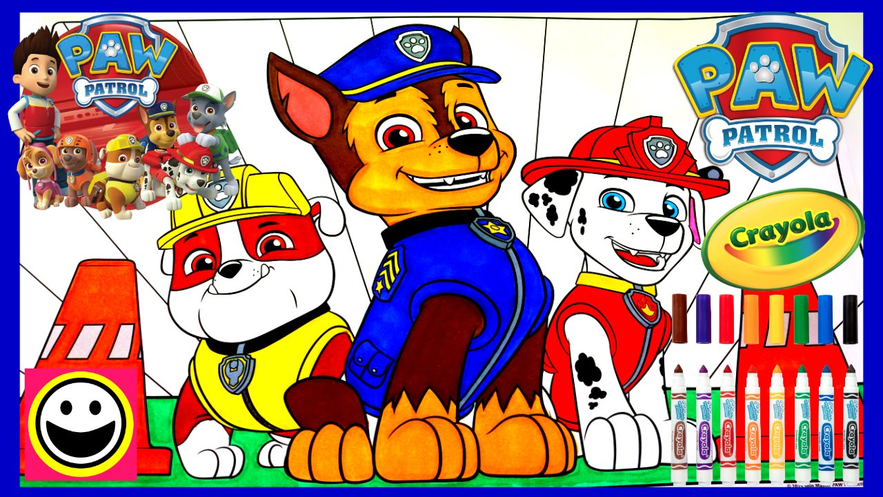 Paw Patrol Pups Rubble Chase Marshall Crayola Coloring Pages