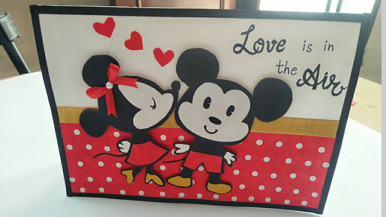 DIY Mickey Mouse Love Card/ Valentine day Card/ Mickey mouse Valentine day  card