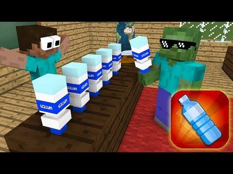 Monster School : BOTTLE FLIP GAME CHALLENGE - Minecraft Animation