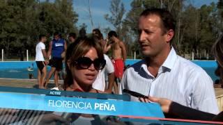 Insaurralde y Florencia Peña en el cierre de la colonia de niños de Lomas de Zamora