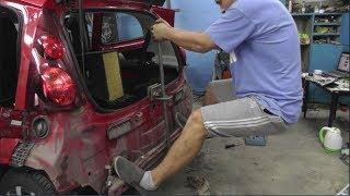 КАК я свою машину поломал, а потом починил)  Вытяжка задней панели Peugeot 107.