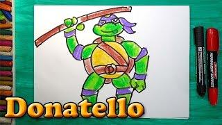Как нарисовать Черепашку Ниндзя Донателло, How to draw ninja turtles Donatello(РыбаКит - Папа рисует: http://www.youtube.com/ribakit3 Я покажу как можно нарисовать Черепашку Ниндзя очень просто! Сегодн..., 2016-02-12T11:14:40.000Z)
