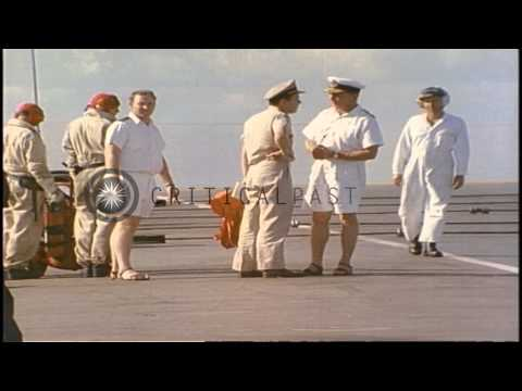 Australian and United States Navy officers on the deck of Royal Australian Navy H...HD Stock Footage