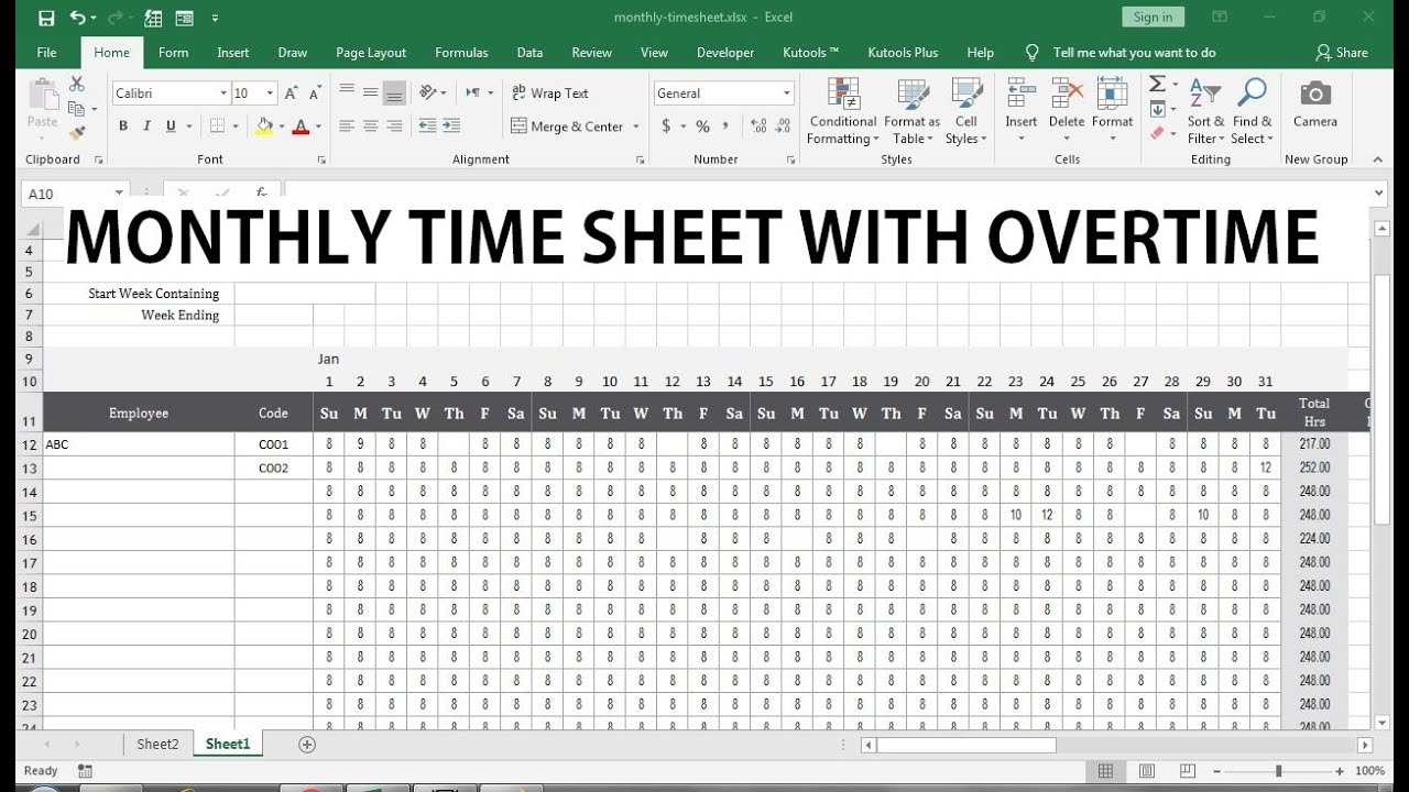 Monthly Timesheet With Overtime Template Excel Youtube