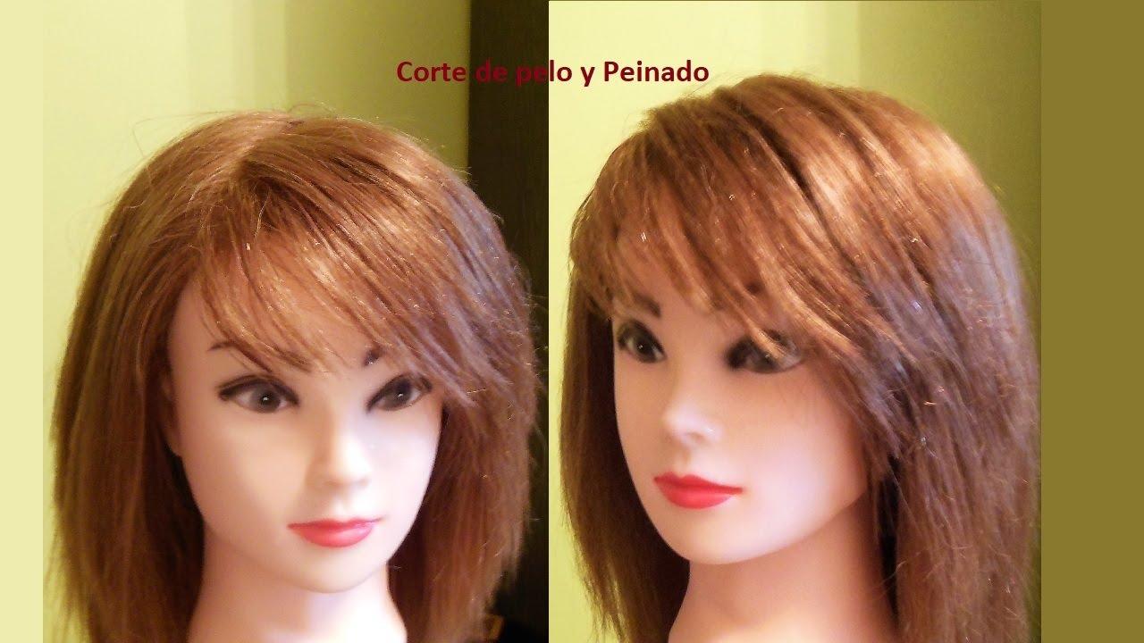 Corte de pelo con flequillo de lado
