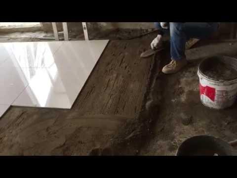 Floor Tile Installation Process - 60x60 cm Polished Tiles Part 5 (左官)