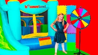 ASSISTANT Wheel of Color Surprise Inflateable Bounce House with Barbie + PJ Masks Video