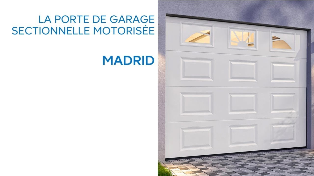 porte de garage sectionnelle avec hublots madrid. Black Bedroom Furniture Sets. Home Design Ideas