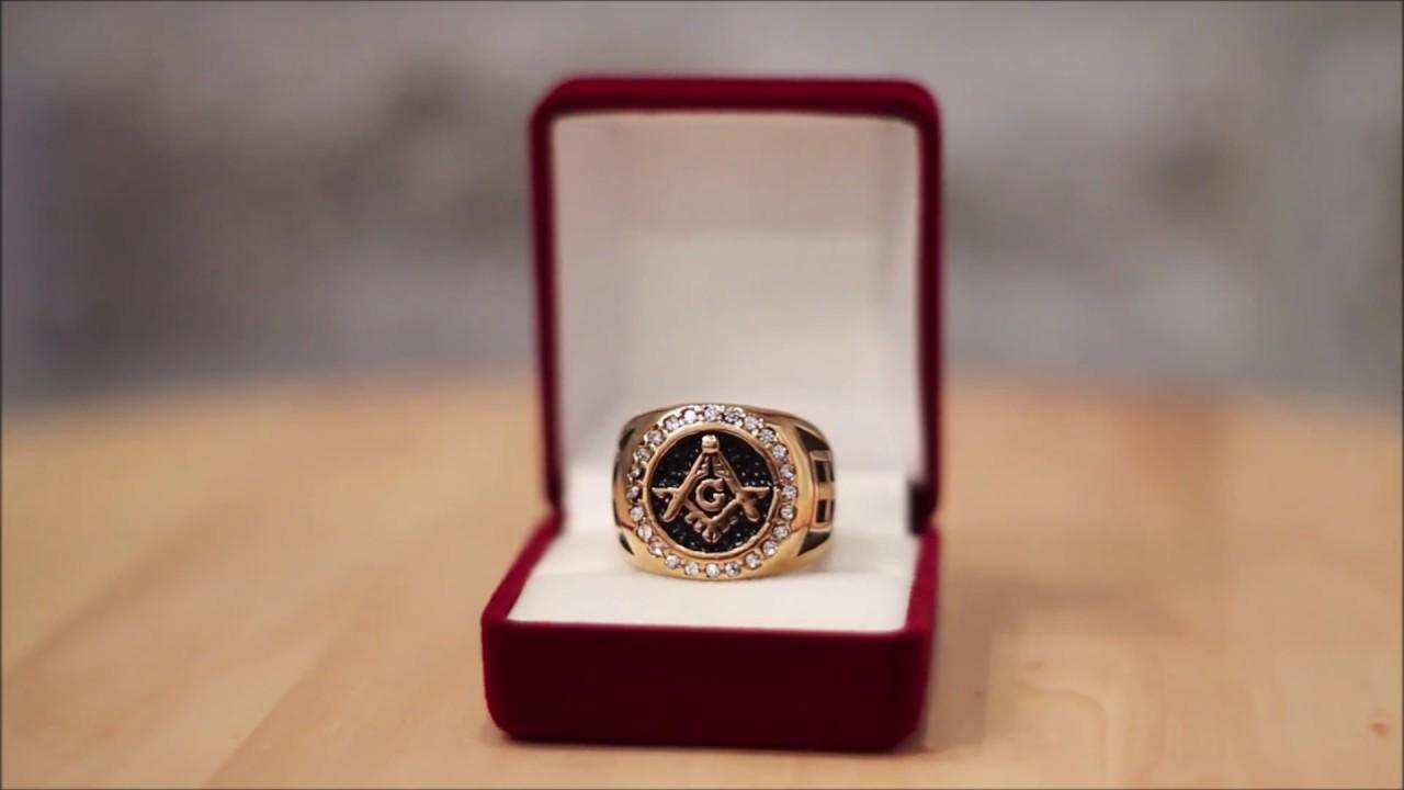 Gold Masonic Ring Blue Lodge Ring - Custom Masonic Ring With G and 24  Zirconia, Round Shape