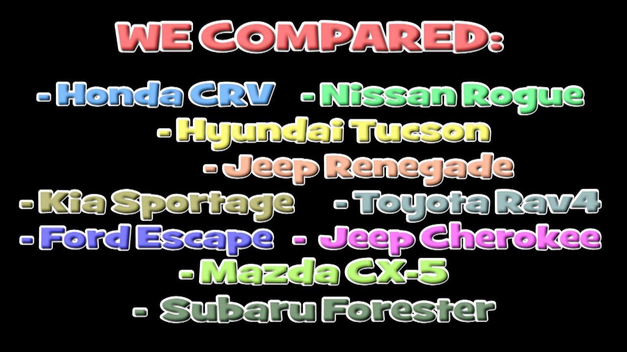 2016 Honda CRV vs Nissan Rogue  Toyota Rav4 XLE  Kia Sportage