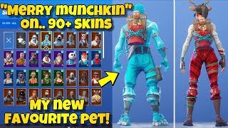 "NEW ""MERRY MUNCHKIN"" PET BACK BLING Showcased With 90+ SKINS! Fortnite FREE GINGERBREAD PET"