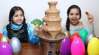 fountain chocolate challenge ! elsa vs anna battle
