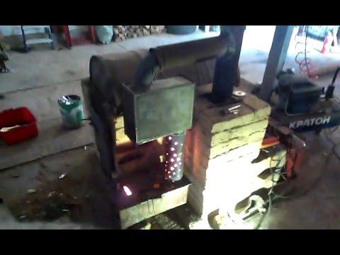 Печка на отработке и дровах в гараже. Вариант номер 99