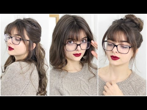 """Do bangs look cute with glasses?"" Sure they do! In this video I'm going to show you three super simple hairstyles that look great when you have bangs and ..."