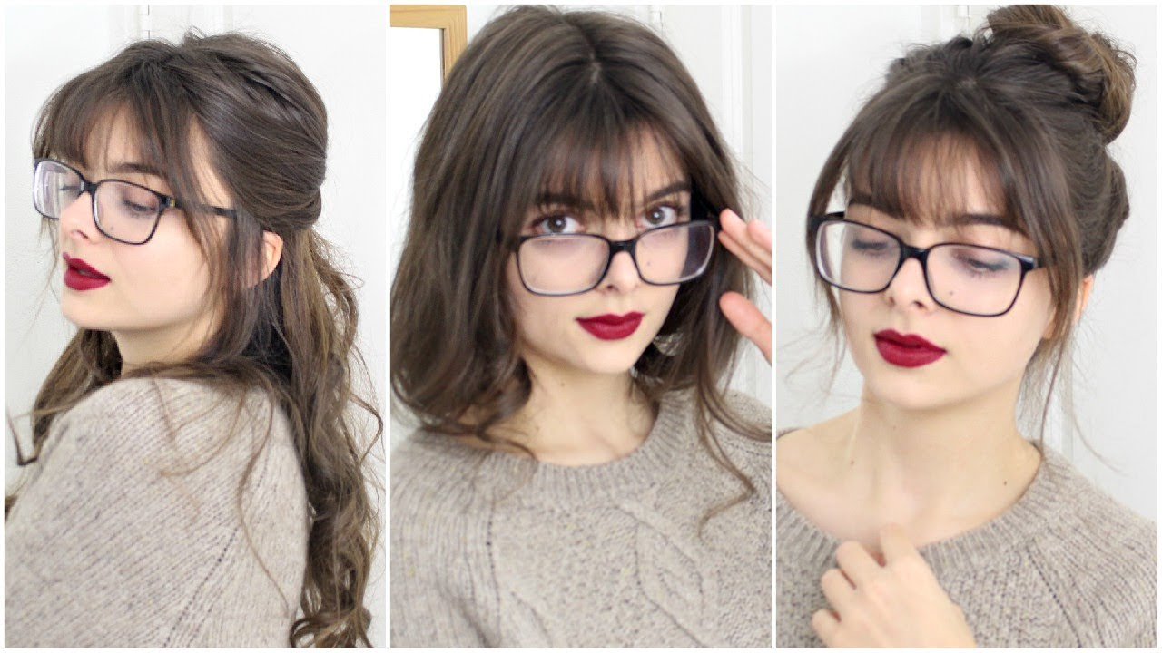 super easy cute hairstyles for bangs glasses youtube